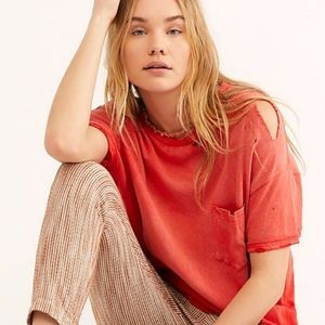 🏷Free People Lucky tee in Cosmic Red